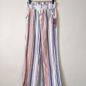CiSono Colorful Pastel Striped Linen Stretch Pants